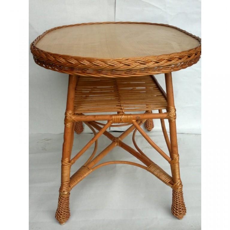 Oválný vrbový stůl